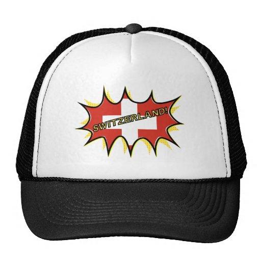 Flag of Switzerland, comic style starburst Hats