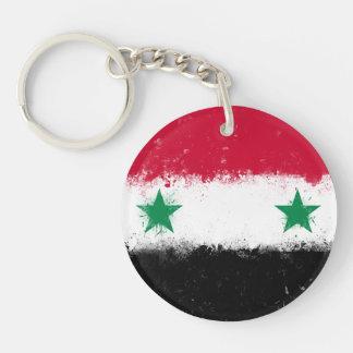 Flag of Syria Double-Sided Round Acrylic Key Ring