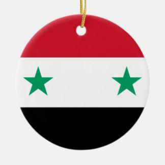 Flag of Syria Round Ceramic Decoration