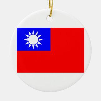 Flag of Taiwan Round Ceramic Decoration
