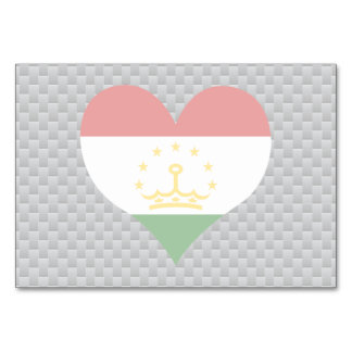 Flag of Tajik on metal background Table Cards