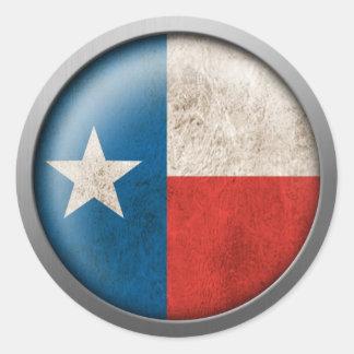 Flag of Texas Disc Round Sticker