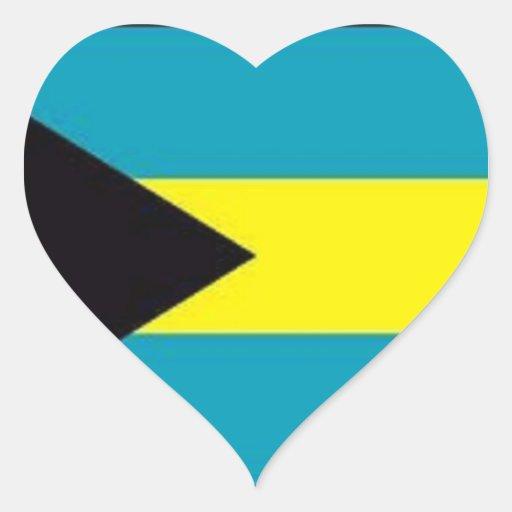 Flag of the Bahamas Heart Stickers