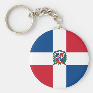 Flag of the Dominican Republic Basic Round Button Key Ring