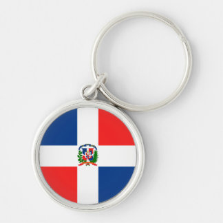 Flag of the Dominican Republic Silver-Colored Round Key Ring