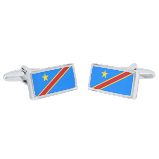 Flag of the DR Congo Cufflinks Silver Finish Cuff Links