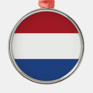 Flag of the of the Netherlands Silver-Colored Round Decoration
