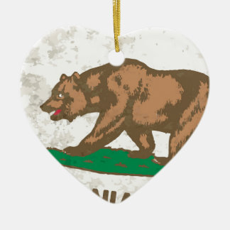 Flag of the State of California Grunge Ceramic Heart Decoration