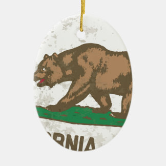 Flag of the State of California Grunge Ceramic Oval Decoration