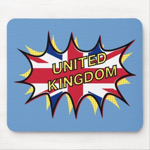 "Flag of The United Kingdom ""KAPOW"" starburst Mousepads"