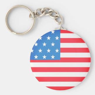 Flag of The United States Basic Round Button Key Ring