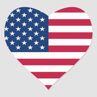 Flag of the United States of America Heart Stickers