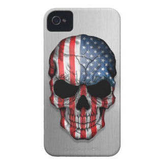 Flag of The United States on a Steel Skull Graphic iPhone 4 Cover
