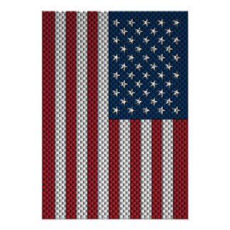 Flag of The United States with Carbon Fiber Effect Custom Invites