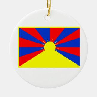 Flag of Tibet Round Ceramic Decoration