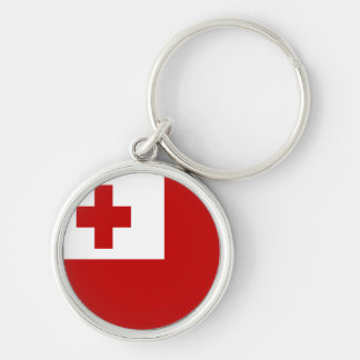 FLAG OF TONGA Silver-Colored ROUND KEY RING