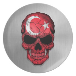 Flag of Turkey on a Steel Skull Graphic Plate