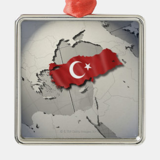 Flag of Turkey Silver-Colored Square Decoration