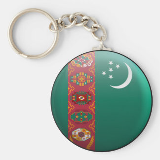 Flag of Turkmenistan Basic Round Button Key Ring