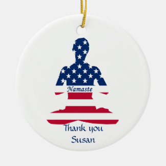 Flag of USA meditation American yoga Christmas Ornament