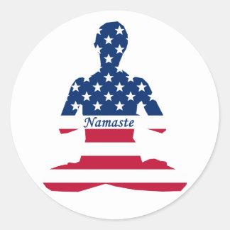 Flag of USA meditation American yoga Classic Round Sticker