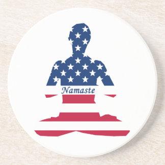 Flag of USA meditation American yoga Coaster