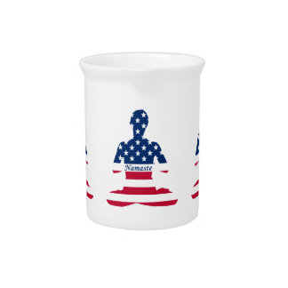 Flag of USA meditation American yoga Pitcher