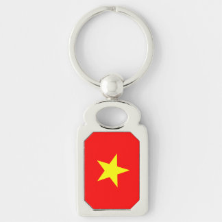 Flag of Vietnam Silver-Colored Rectangular Metal Keychain