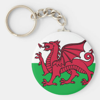 Flag of Wales Basic Round Button Key Ring