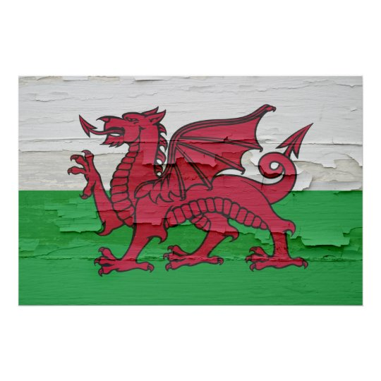 Flag of Wales Weathered Paint Poster