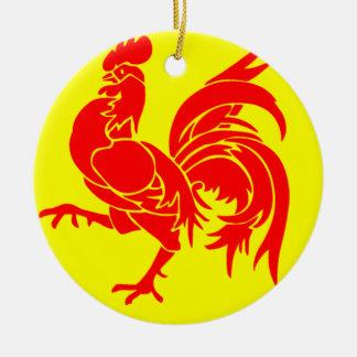 Flag of Wallonia Round Ceramic Decoration