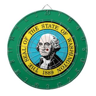 Flag of Washington State Dartboard With Darts