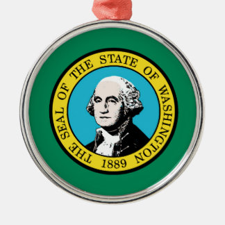 Flag of Washington State Silver-Colored Round Decoration