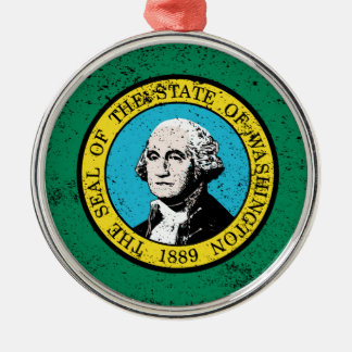 Flag of Washington State With Grunge Christmas Ornament
