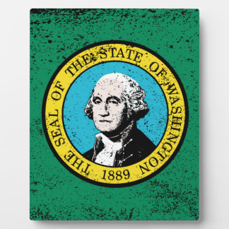 Flag of Washington State With Grunge Plaque