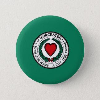 Flag of Worcester, Massachusetts 6 Cm Round Badge
