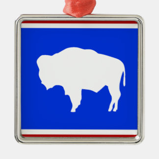 Flag of Wyoming Silver-Colored Square Decoration