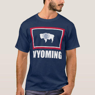 Flag Of Wyoming White Text Blue T-Shirt