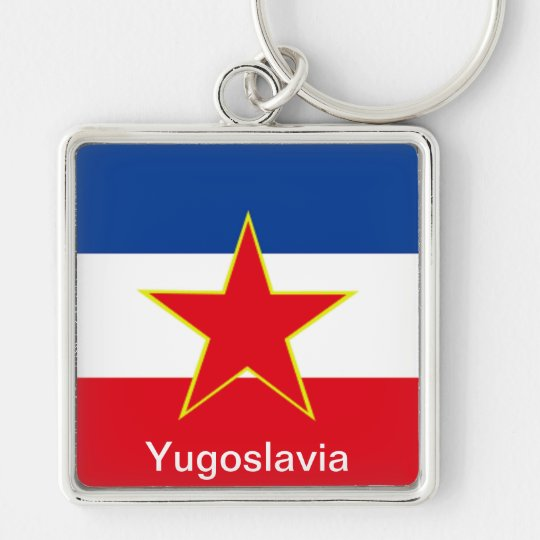 Flag of Yugoslavia Silver-Colored Square Key Ring