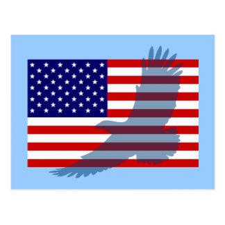 Flag & Patriotic Eagle Postcard