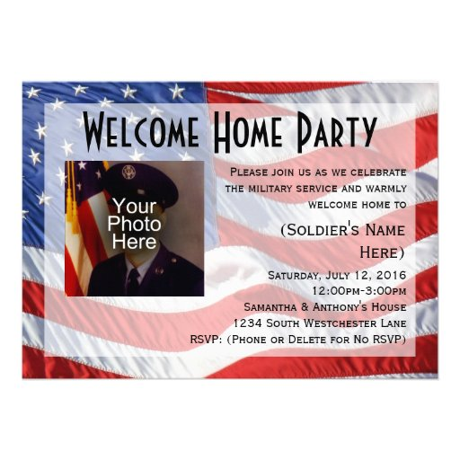 Http Zazzle Co Uk Flag Photo Military Welcome Home Party Invitation 161120910023156444