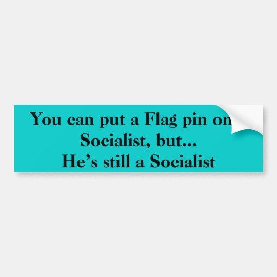Flag pin on a Socialist Bumper Sticker
