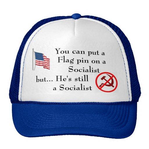Flag pin on a Socialist Hat