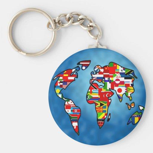 Flag Planet Key Chains