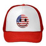 flag smiley face trucker hat
