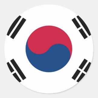 Flag South Korea 대한민국 Round Sticker