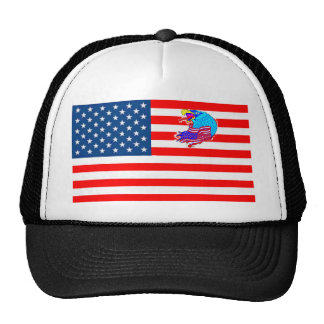 FLAG the USA EAGLE 1.PNG Trucker Hats