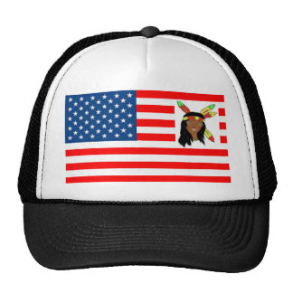 FLAG the USA INDIAN 1.PNG Trucker Hats