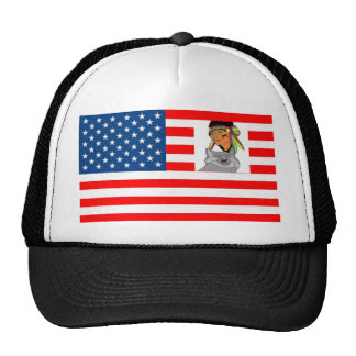 FLAG the USA INDIAN WOLF 1.PNG Mesh Hat