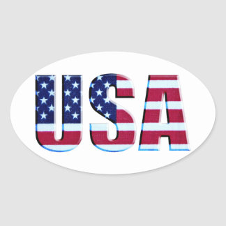 Flag USA Letters Oval Sticker